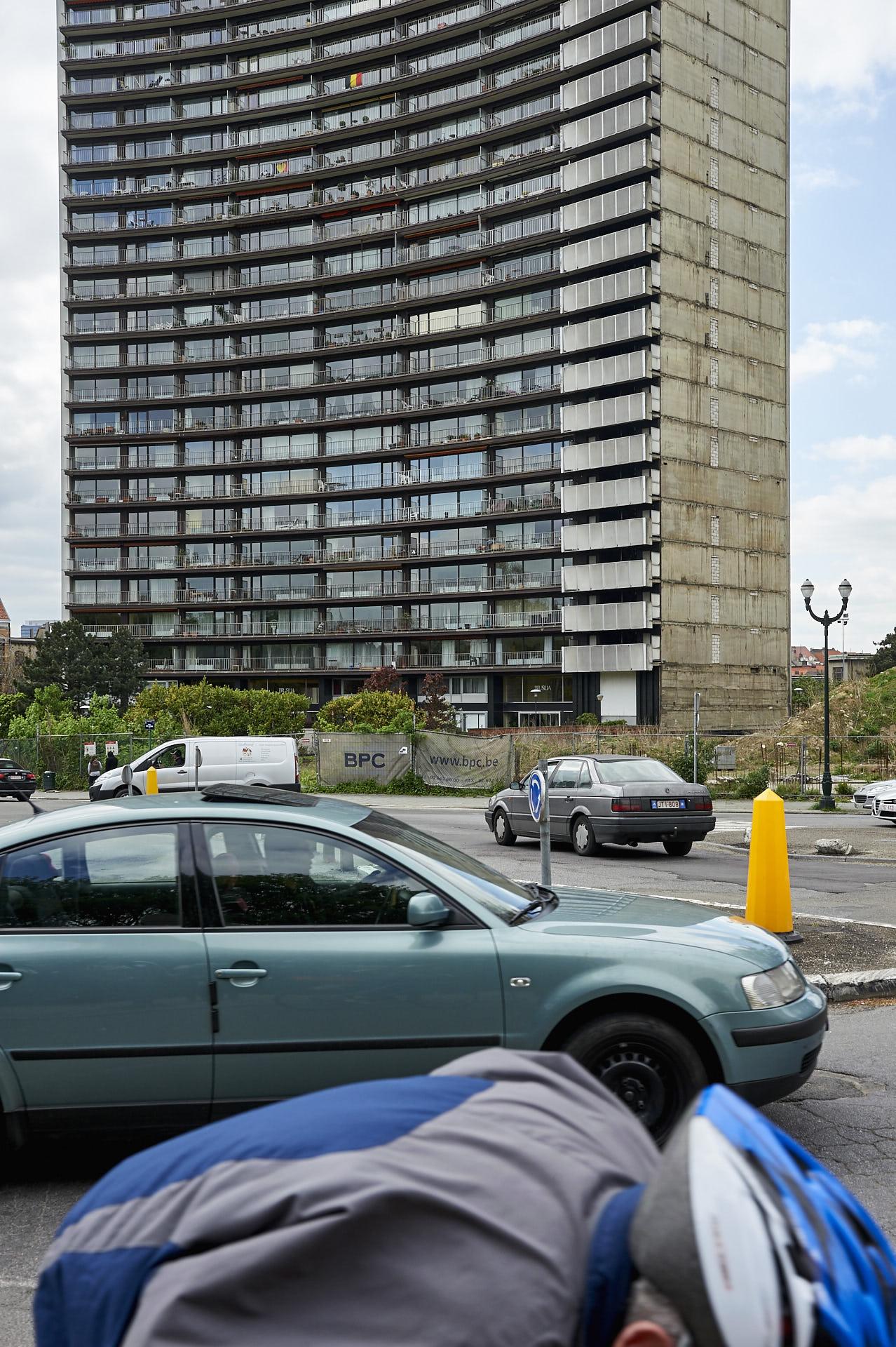 Schaerbeek, Brussel, rotonde, verkeer, flat, appartementen