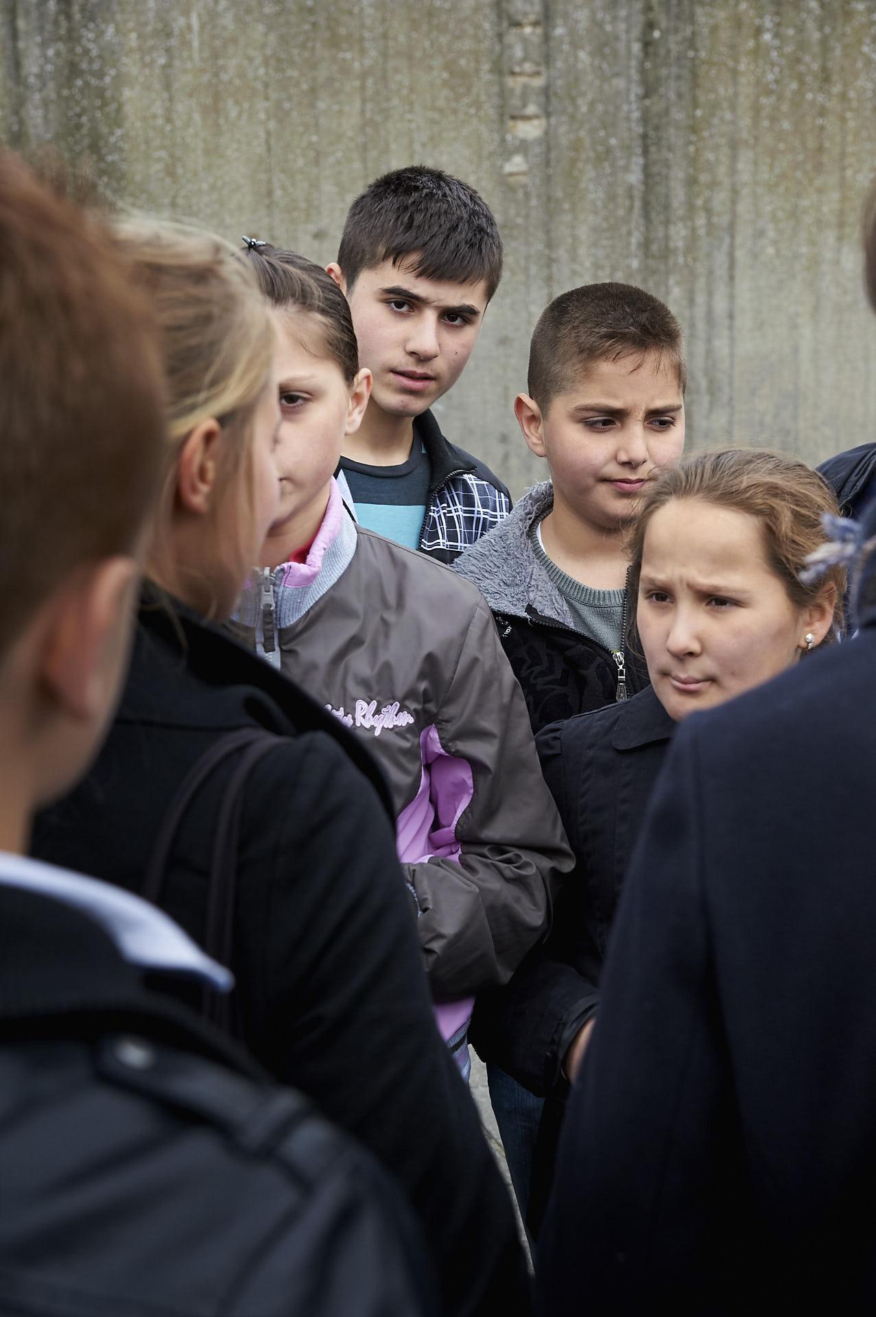Kinderen op schoolplein Schaerbeek Brussel